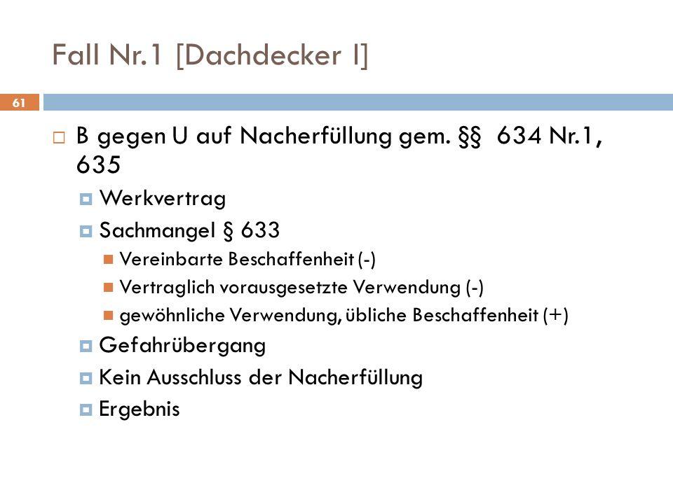 Fall Nr.1 [Dachdecker I] B gegen U auf Nacherfüllung gem. §§ 634 Nr.1, 635. Werkvertrag. Sachmangel § 633.